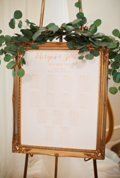 seating chart gold frame