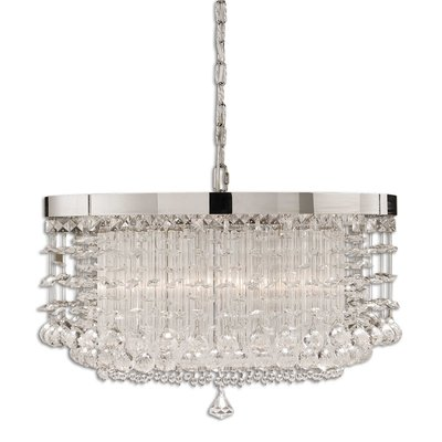 A shining fixture made with hanging crystals and a silver base from Hockman Interiors