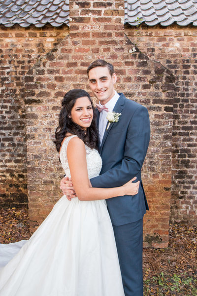 Coast Guard wedding  boone hall plantation south carolina brick wall