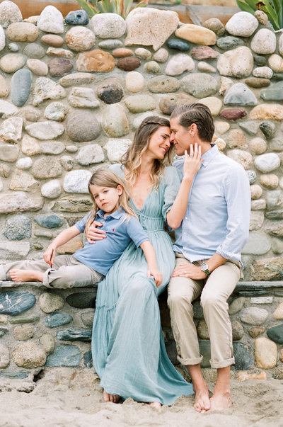 family session at the beach in california dressed in blue