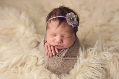 PA newborn sleeping memory photo using studio lighting