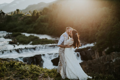 Glacier National Park Sunset Elopement Couple Kissing