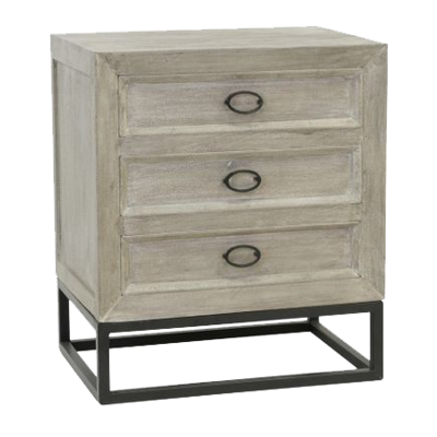 Whitewash wood nightstand with dark metal facets at Hockman Interiors