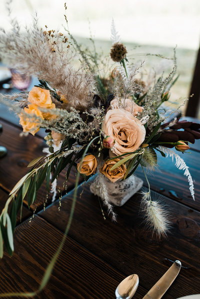 Boho Desert Wild Yellow Wedding Flowers Centerpiece