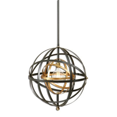 A dynamic hanging light fixture with mixed metals and open circular frame from Hockman Interiors