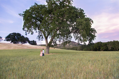couple walking hand in hand across a field in Paso Robles, California taken by Tayler Enerle