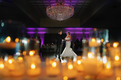 a stunning couple at arden hills country club  in a candlelit first dance
