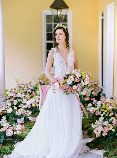Film portraits of bride and groom at Middleton Place historical wedding venue Charleston