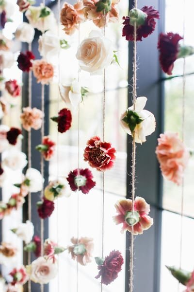 Floral curtain or hanging floral installation at the Roundhouse in Beacon, New York. Hudson Valley wedding florist