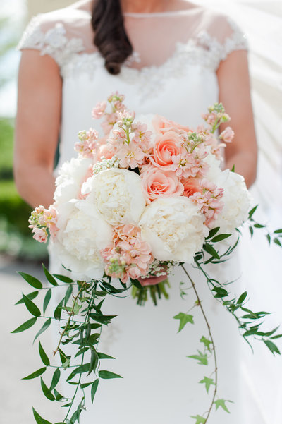 Baltimore bride bouquet peonies