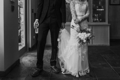 Bride and groom in classic black and white photo