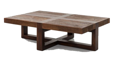 Wooden coffee table with crossed base at Hockman Interiors