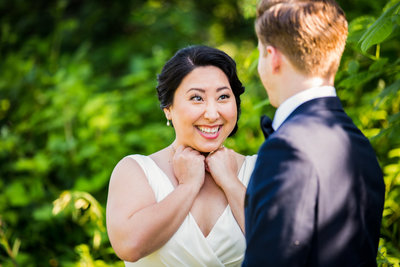bride and groom first look seattle wedding photography emma lee photography