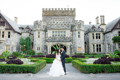 Bride and Groom at Hatley Castle in  Victoria BC