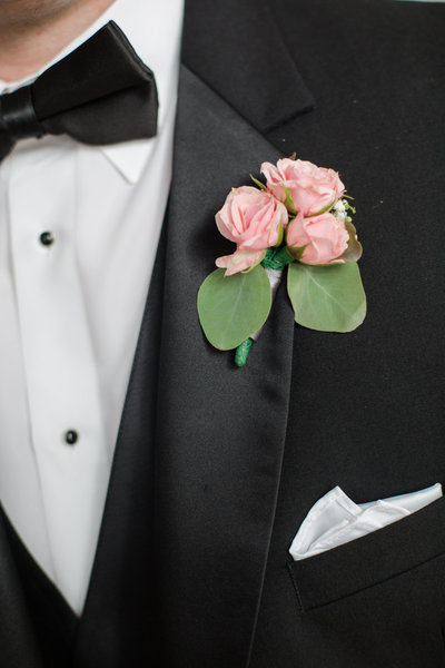 Grooms bowtie and pink peony boutonniere.