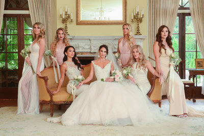 bridesmaids and bride at hycroft manor in vancouver