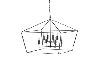 Prism shaped chandelier with open metal frame and lights from Hockman Interiors