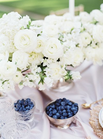 Louisville wedding table decor closeup blueberries