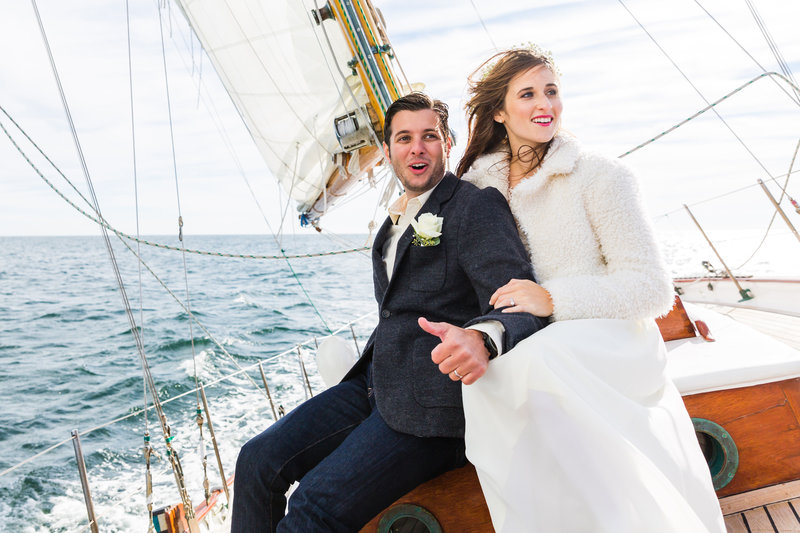 Ogunquit Maine Elopement Sailboat Silver Linings Sailboat Wedding Wind Perkin's Cove