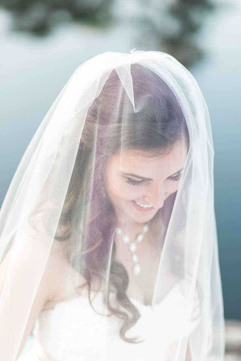 Smiling bride in veil