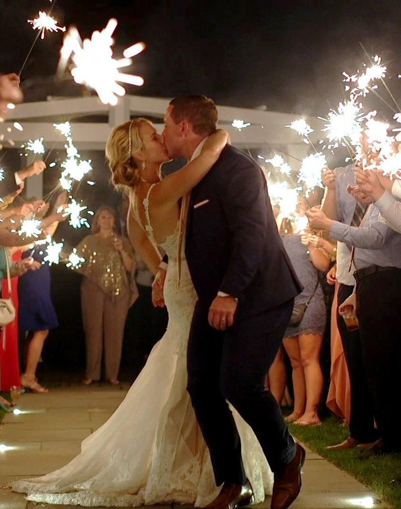 Beautiful couple with a sparkler grand exit. Wedding at Chatham Bars Inn in Chatham, MA. Filmed by Harborview Studios.