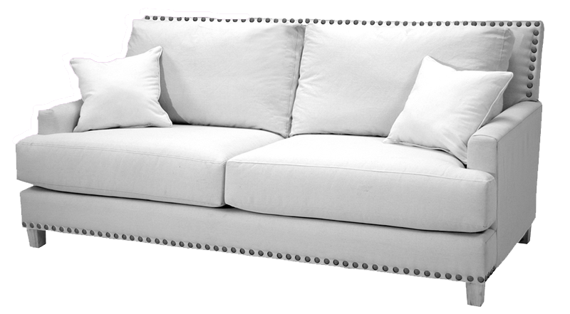 A modern, white living room sofa at Hockman Interiors