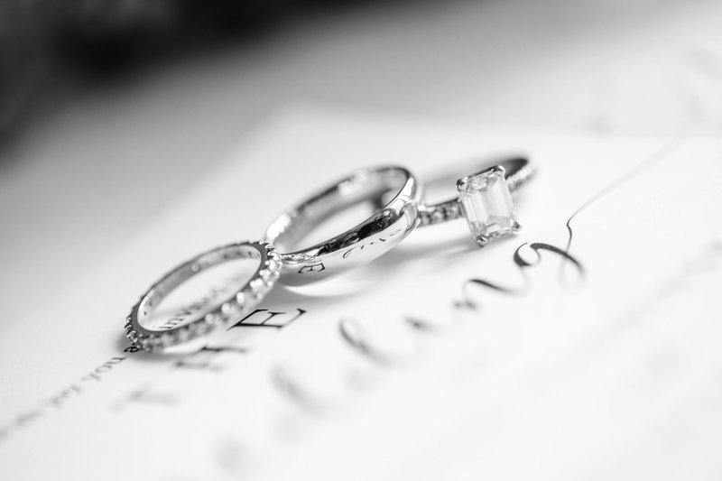 wedding rings laying on invitations