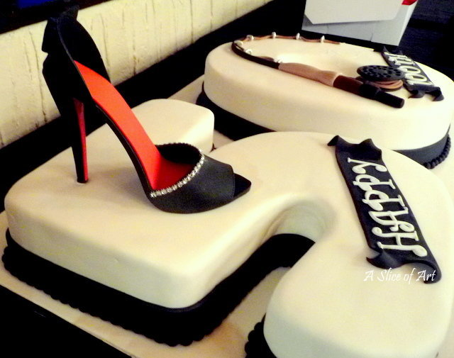 shoe and rod birthday cake