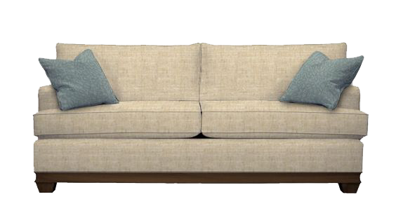 Tan couch with wooden detail sold at Hockman Interiors