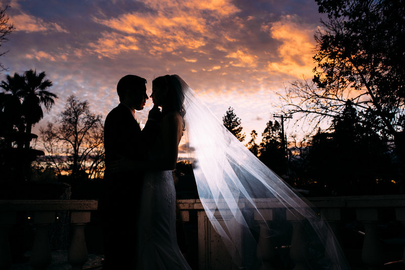Stunning Sunset picture at vizcaya wedding