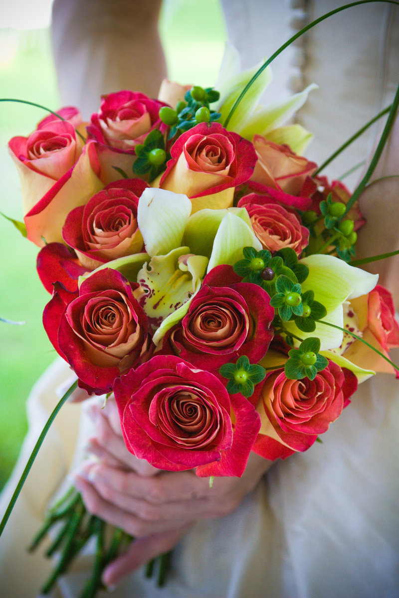 Gorgeous bridal bouquet of roses and other flowers