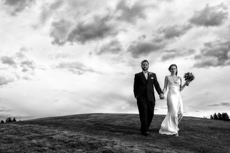 The bride and groom in their wedding portrait photography session during their destination wedding at Eagle Crest Resort. Pete Erickson Photography.