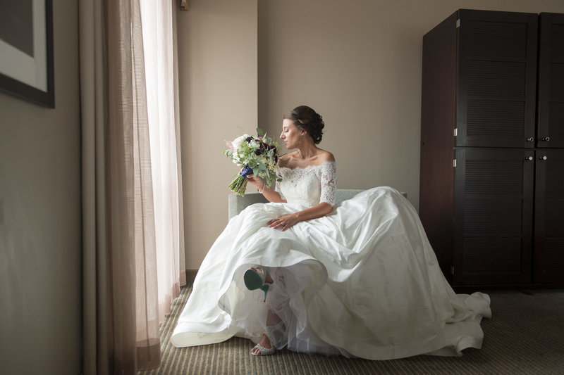 classic beautiful bridal portrait in hotel room prior to ceremony