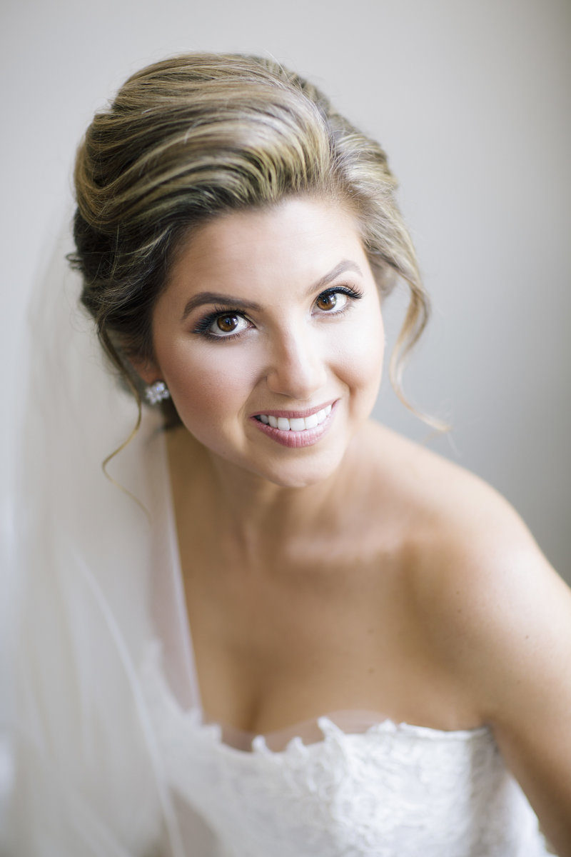 portrait of bride smiling at camera