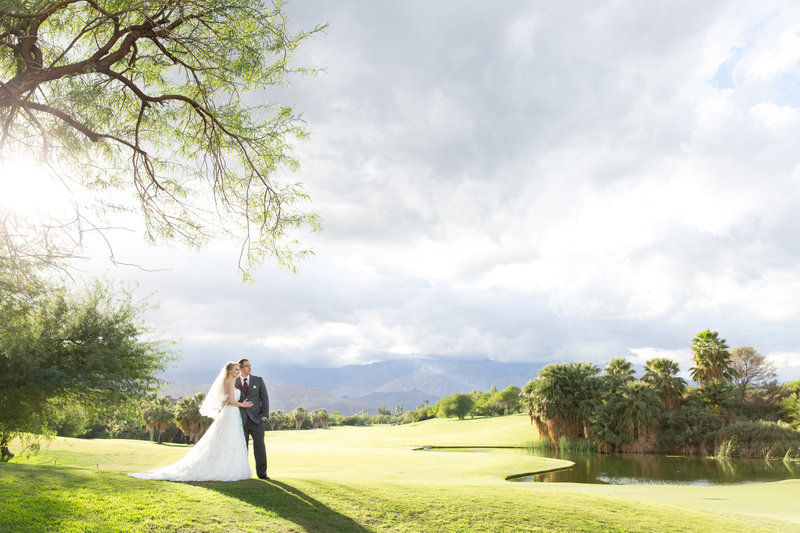 Bride and Groom Wedding Golf Course Portrait
