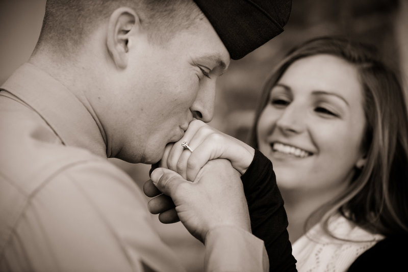 JandDstudio-engagement-rustic-vintage-military-fall-ring-kissing