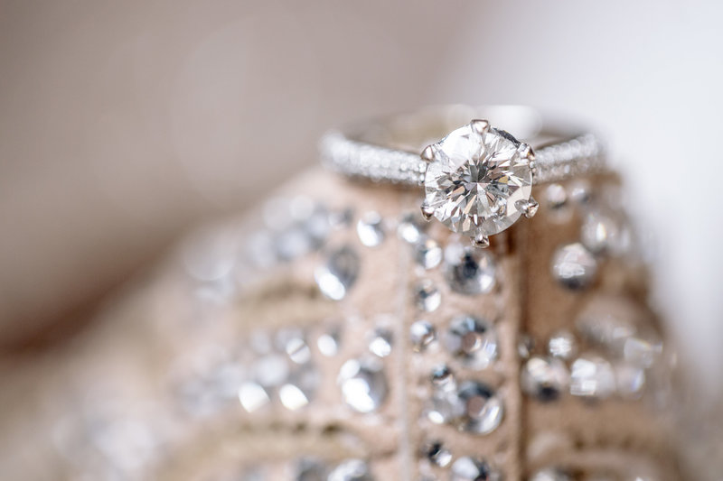 diamond ring on back of badgley mischka  heels