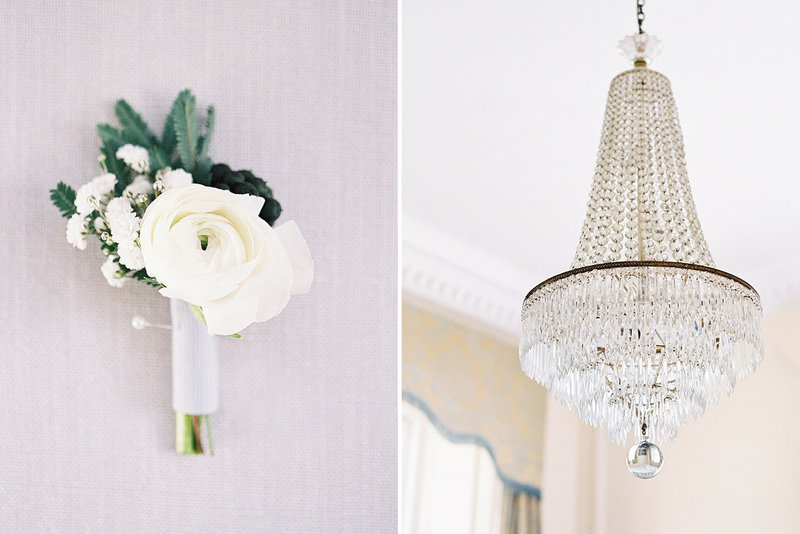 sarah hannam bradley house wiltshire wedding film photographer buttonhole chandelier