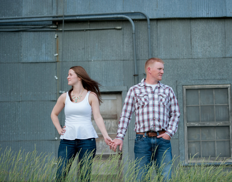 North Dakota Engagement photos by Fargo photographer Kris Kandel. An old grain elevator makes a fantastic background for these engagement pics. www.kriskandel.com