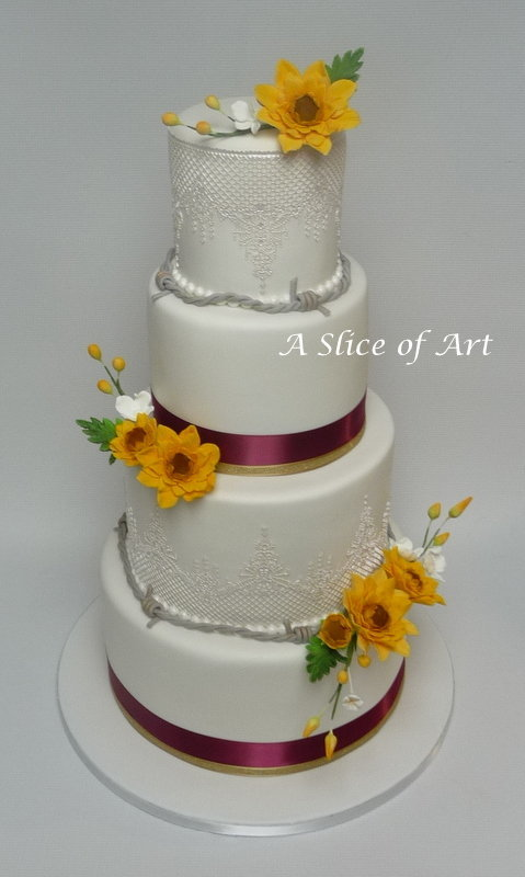 sunflowercakelaceweddingcake