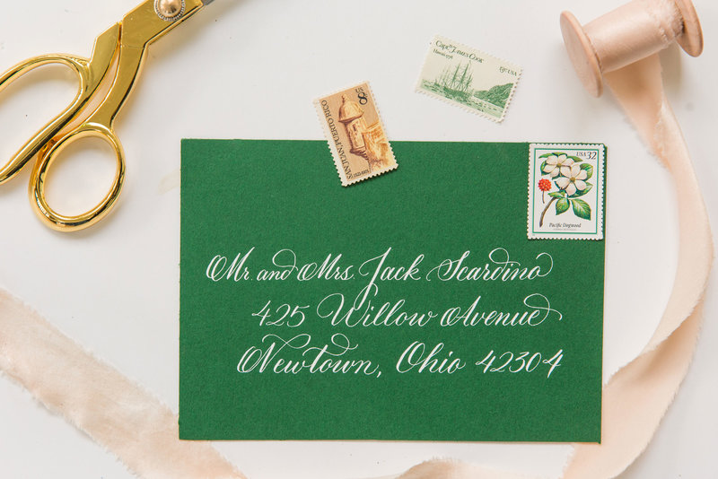 Pointed pen calligraphy on a green envelope
