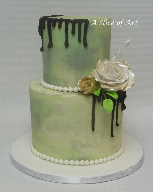marbled buttercream wedding cake