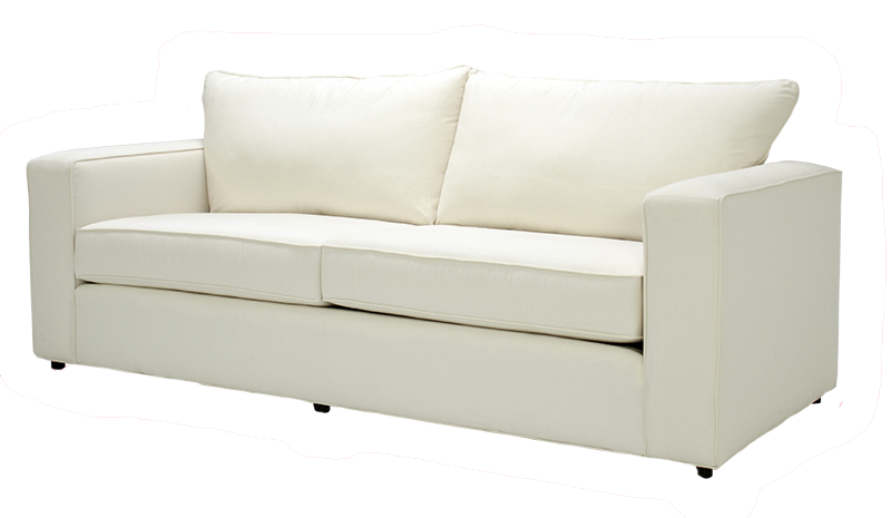 Square-shaped, ivory living room sofa at Hockman Interiors
