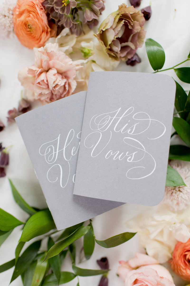 custom his and her vows hand lettered covers