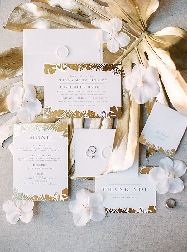 White Gold Wedding Invitation Suite