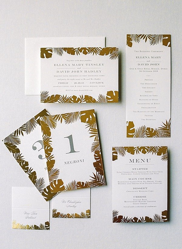 Invitation Suite Gold White Wedding Dubai 1
