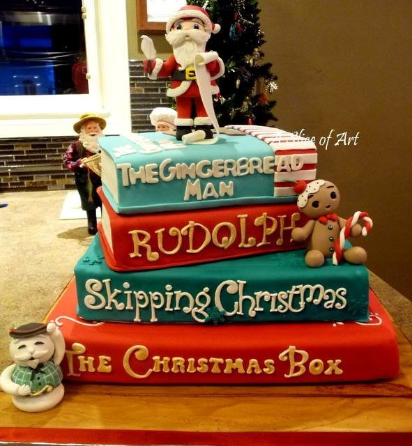 xmas book cake with characters