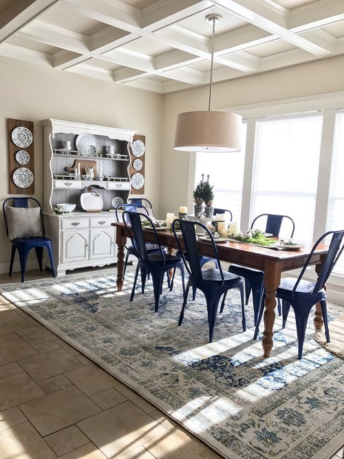 Cotton+Stem+Interiors+farmhouse+dining+room+blue+chairs+hutch+pottery+barn+table