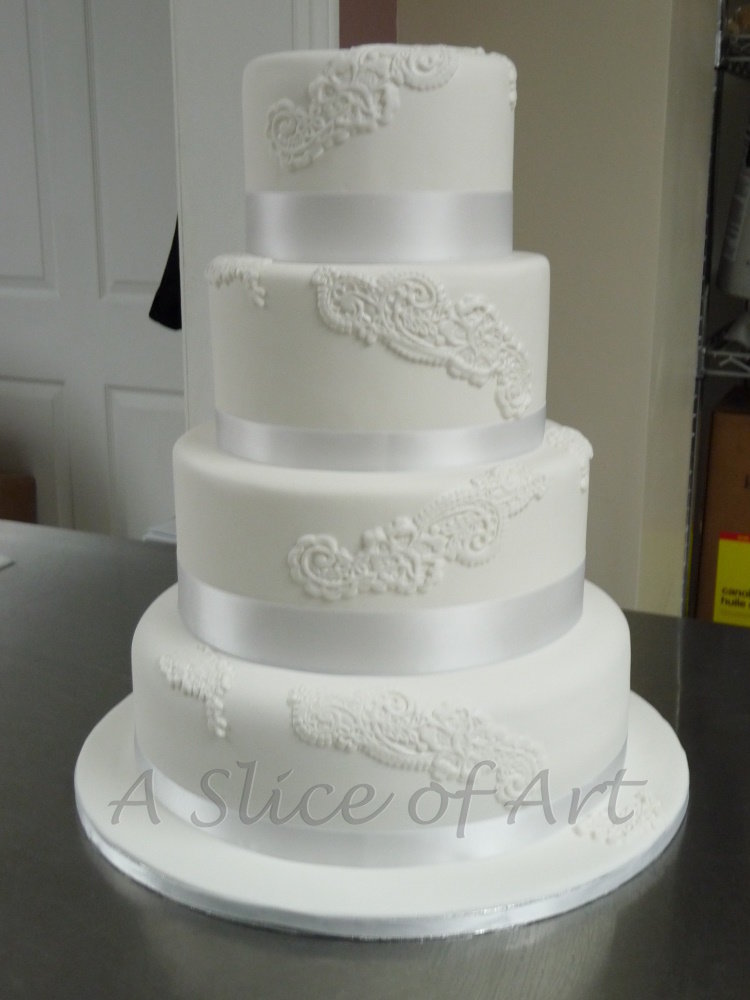 cascading lace 2 wedding cake