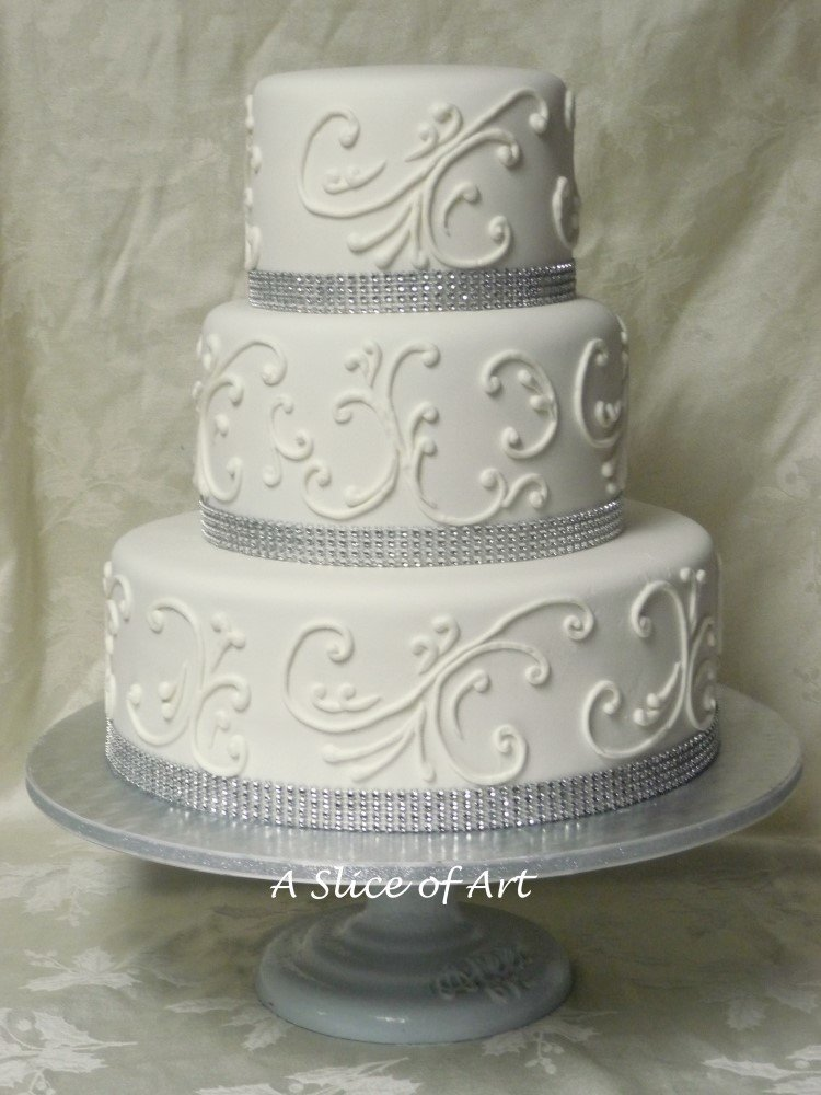 scrp;;ed bling wedding cake